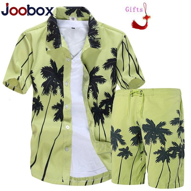 Men's Short Sleeve Hawaiian Shirt + Shorts Summer Plam Tree Casual Beach Hawaii Shirts Shorts Pants Two Piece Suit Men Sdois