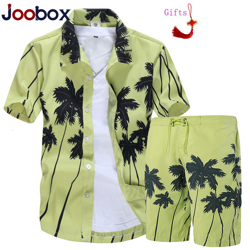 Modis Mens Hawaiian Shirts Set Fashion Summer Floral Shirts Men+Print Beach Shorts Short Sleeve Tracksuit Men's Sets Ropa Hombre