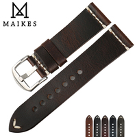 MAIKES New Design Special Classical Genuine Leather Watchband 22mm 24mm Watch Accessories Watch Straps Vintage Watch