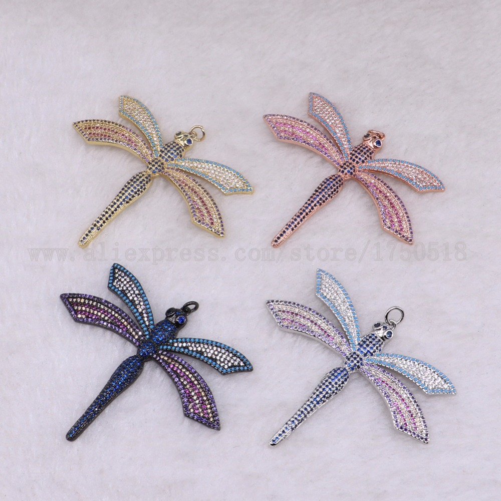 3 pieces dragonfly pendants bugs bee for lady charm lady spider jewelry making micro paved mix color pendants pets beads 3285