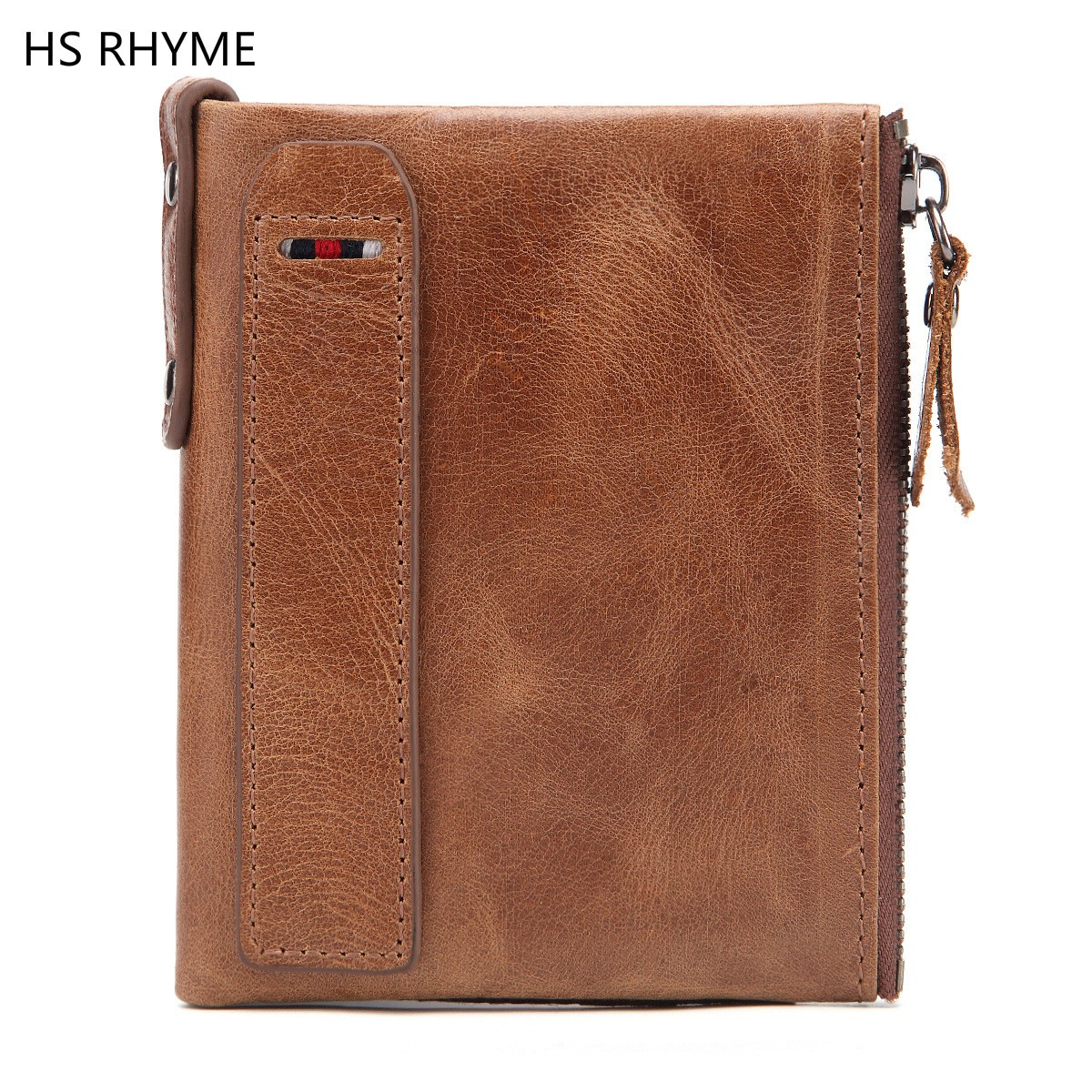 HS RHYME Wallet Men Leather Genuine Mens Bulls Man Vintage Cowhide Big Capacity Short Purse With Zipper Coin Pocket