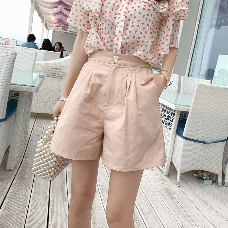 MISHOW Short Pants Female Summer Shorts New Cotton Linen Wide Leg Trousers Women Casual  Loose High Waist Shorts MX19B2464
