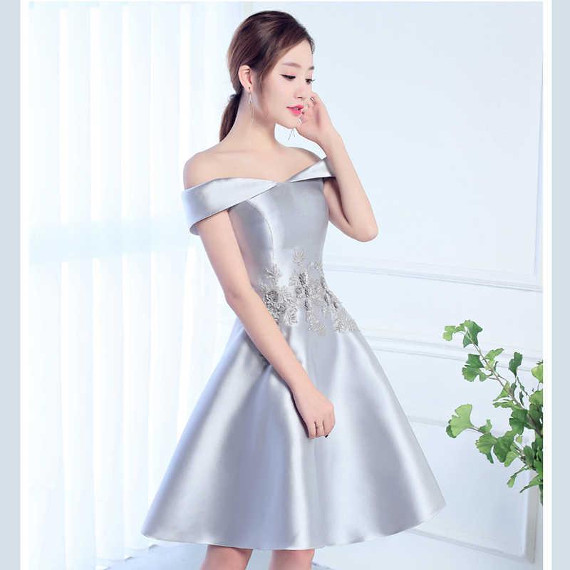 invicto x calidad autentica muy elogiado JaneyGao vestidos de graduación de estilo corto Color rojo para mujeres  elegante vestido de noche Vestidos de Fiesta vino rojo plata-gris en venta