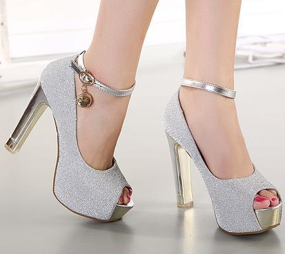 Sexy Ankle Strap Peep Toe Metal Thick High Heels Shoes Wedding Lavender Silver Size 34 To 39 In Womens Pumps From On Aliexpress