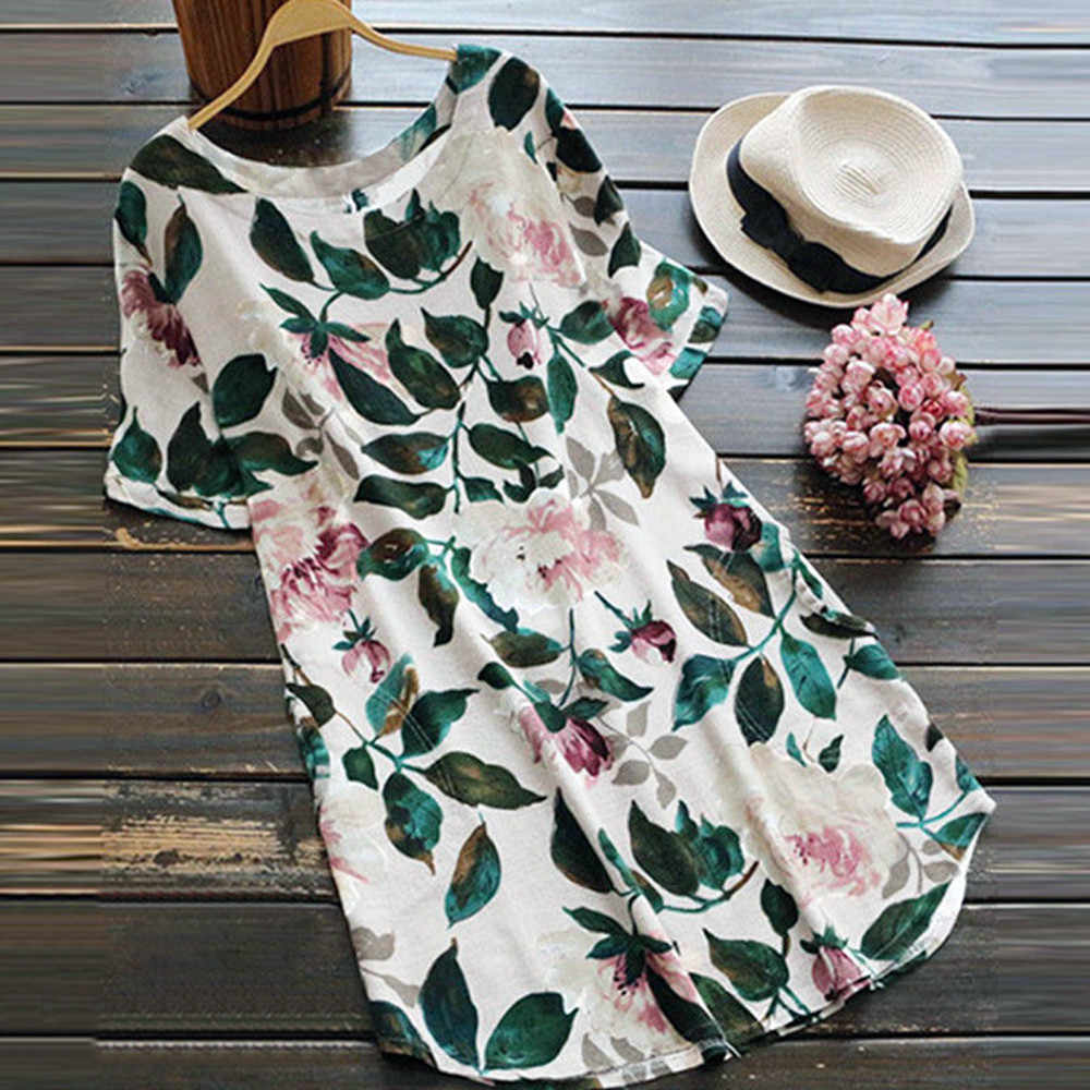 2018 Fashion Women Lady Floral Print Mini Dress High Waisted O Neck Summer Party Short Sleeve Dress Plus Size S-5XL