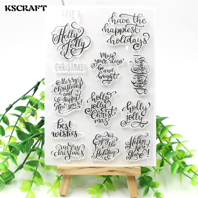 KSCRAFT Christmas Transparent Clear Silicone Stamp/Seal for DIY scrapbooking/photo album Decorative clear stamp sheets christmas holiday wishes clear silicone rubber stamp for diy scrapbooking photo album decorative craft clear stamp chapter