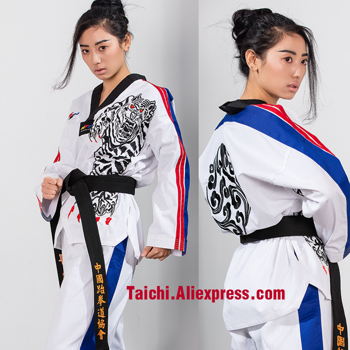 New TKD Tae Kwon Do Korea V-neck Women & Man Taekwondo Clothes For Poomsae & Training,WTF Uniform,160-190cm