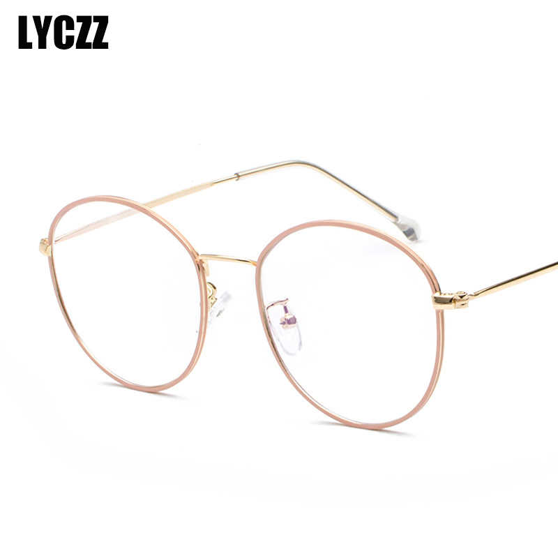 49a8a8ce035ea LYCZZ Vintage Spectacle Frames Unisex Alloy Thin-rimmed Glasses Fahion  Prescription Eyewears for Girls Transparent