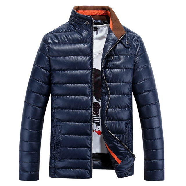 Nuevas chaquetas de Invierno para hombre espesar wadded Abrigo de cuero Jaqueta masculina hombres de la chaqueta de Cuello de pie cazadora Parka Abajo Abrigos