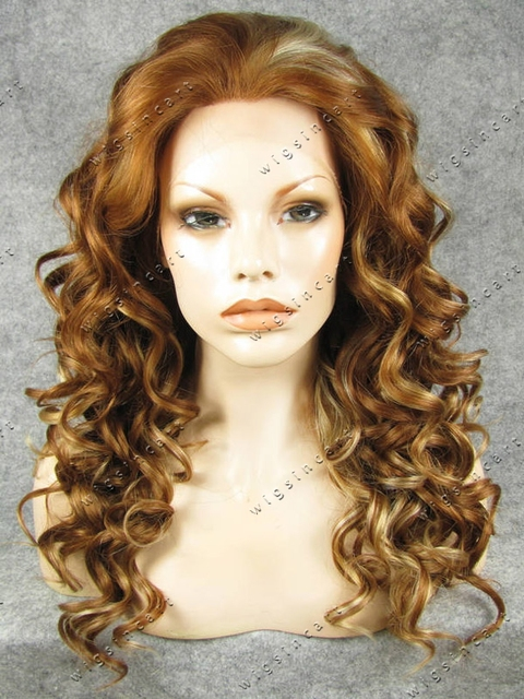 HOT Selling Brown mixed Blonde Kinky Curly Hair Synthetic Lace Front Wig Medium Length Curly Blonde Highlighted Synthetic Wig