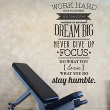 Modern Work Hard Dream Big Never Give Up Inspiring Quotes Wall Sticker Vinyl Art Decals for Office Living Room Door Home Decor