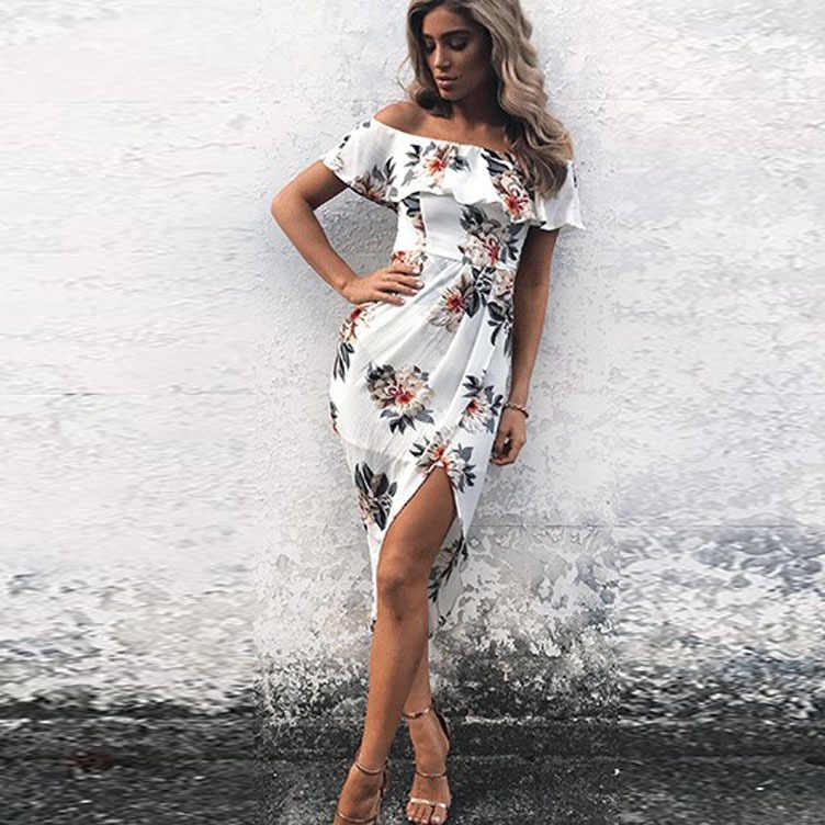 Volant irrégulière robe femmes hors épaule plage d'été robes imprimé Floral Vintage en mousseline de soie blanc maxi robe vestidos de festa