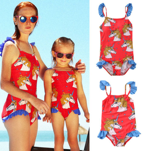 2018 Women Kid Baby Girls Unicorn One piece Swimsuit