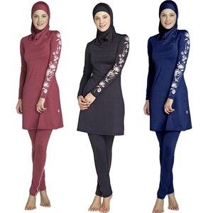 2019 Women Large Size Printed Floral Full Cover Muslim Swimwear Women Islamic Conservative Swimsuit Hijab Beachwear Bathing Sui(China)