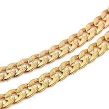 Mens Jewelry Yellow Gold Filled Cuban Chain Male Necklace
