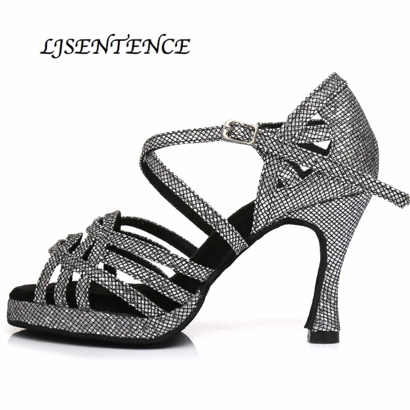 Latin Dance Schuhe mit Plattform Jazz Schuhe Ballsaal Tanzen Mädchen Strass High Heels Glitter Bachata Salsa Tanzen Schuhe