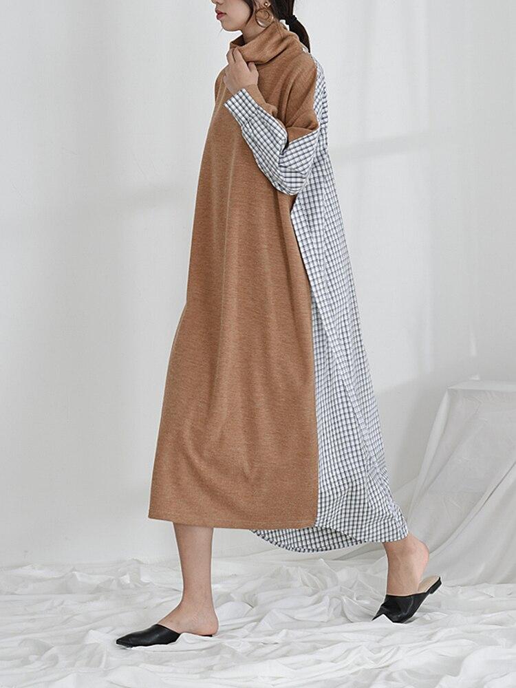 Treillis Robe Couture Et Nouveau De Superaen Roulé Mode Casual 1 Coton Femmes Automne Lâche Dames D'hiver Col 2018 Longue HYIeED2W9