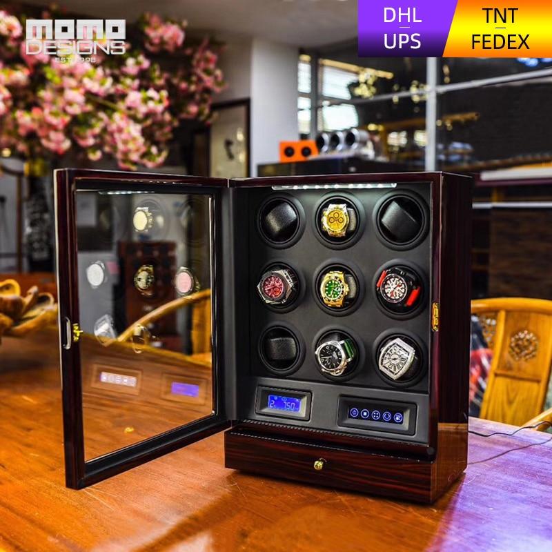 High-end Watch winder 9 Automatico orologi box Multi-funzione LCD touch TPD modalità orologio In Legno scatola di immagazzinaggio per il regalo Di Compleanno