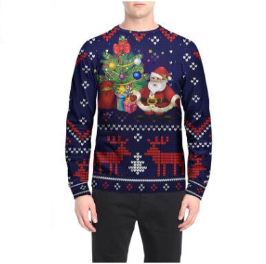 2018 Couple's Santa Claus Creative Autumn and Winter Printed Loose Hoodies Fashion Couples Sweatshirts Plus Size Clothes Tops