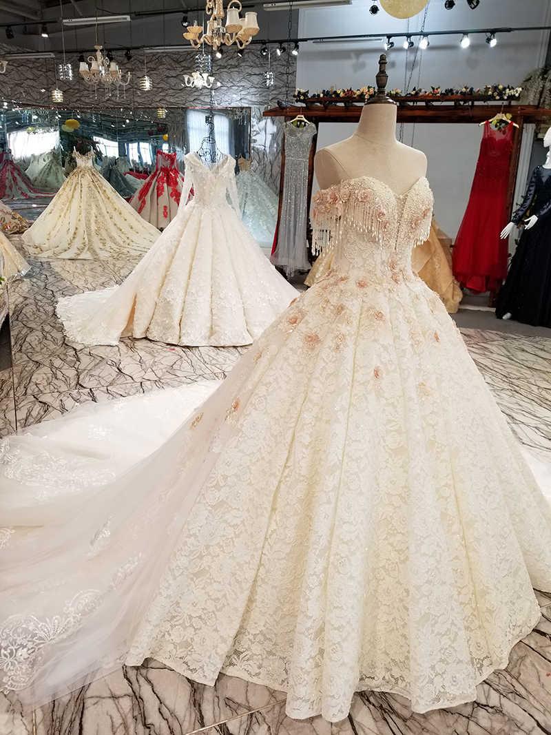 LS9545 платье на свадьбу женскоес плеча дорогой свадебное платье с ручной работы 3d цветы и хрустальное бальное платье зашнуровать свадебное платье высокого качества