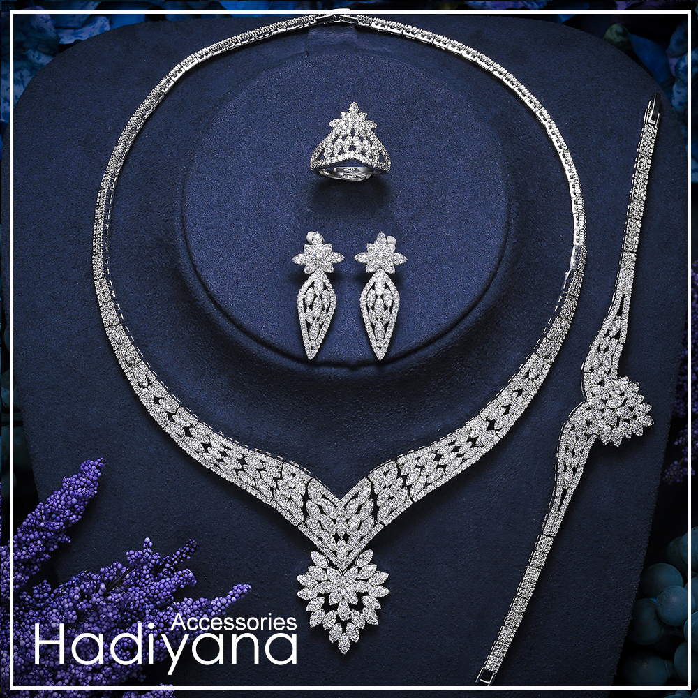 Hadiyana Fashion 4pcs Bridal Jewelry Sets With Bling Zirconia Designer Jewelry Set For Women Wedding Party