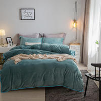 New Thick Crystal velvet pure color Bedding Sets gray Bed Linen Duvet Cover Bed Sheet Pillowcase winter warm bed Set