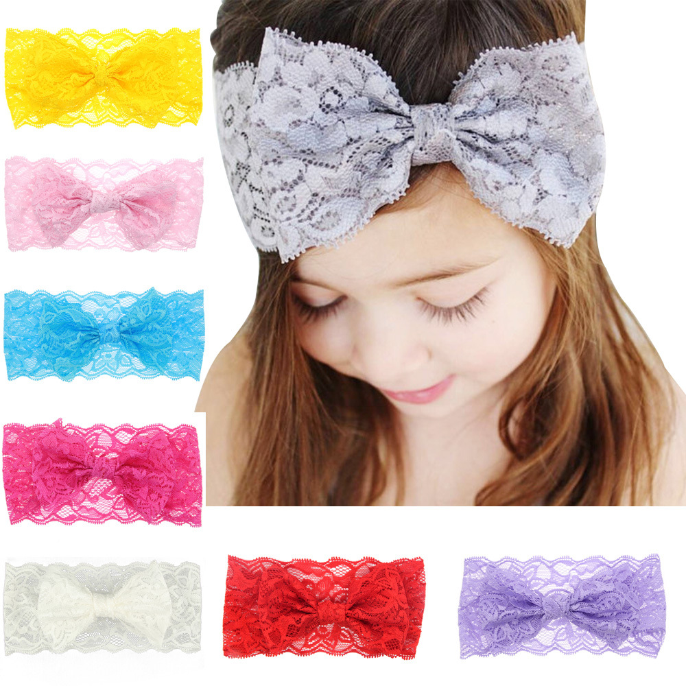 Baby Hairband Bow Colors Flower Headbands For Girl Elastic Baby Haarband Accessories Kids Headwear Newborn Lace Diademas Ninas