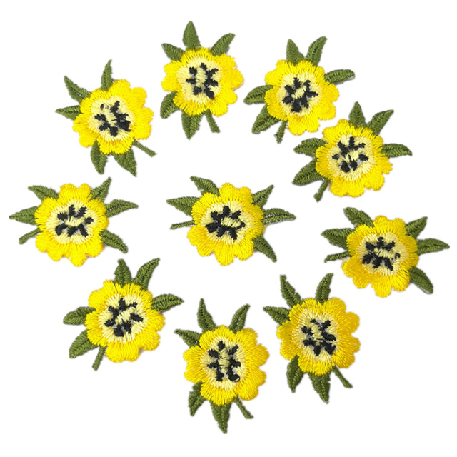 Pequena Flor Amarela Deixa Artesanal Bordado Iron On Applique Patch Sew On Patch Reparação do Ofício de Costura Bordado 10 Pcs