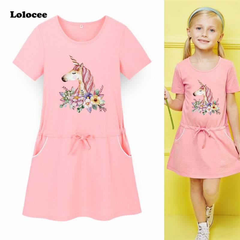 Kids Unicorn Dress for Girl Cartoon Girls Sport Dress Children Clothing Summer Cute Toddler 2018 Brand Fashion Party Costume 2016 summer toddler girl clothing cotton white cartoon baby gilrs casual dress kids cute a dresses for teenagers children