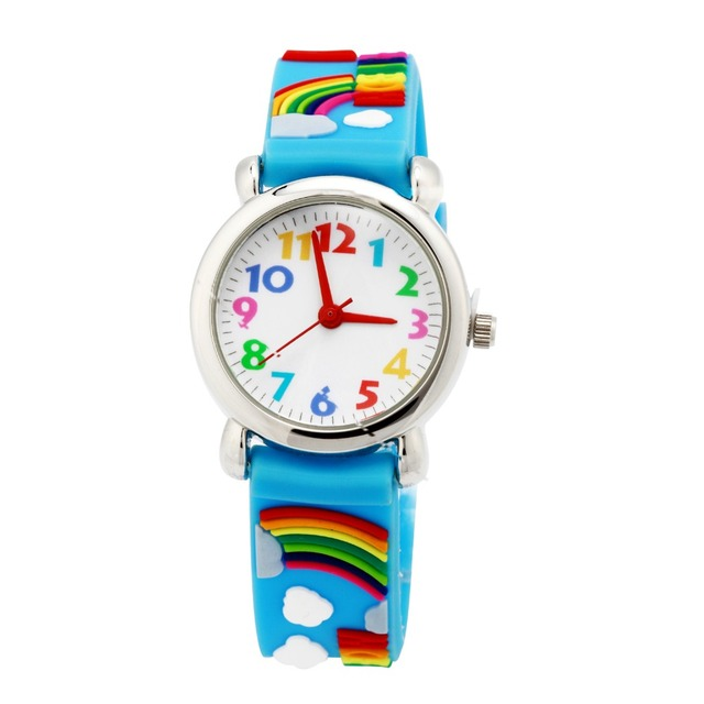 WL Waterproof Kid Watches Children Silicone Wristwatches rainbow Brand Quartz Wr