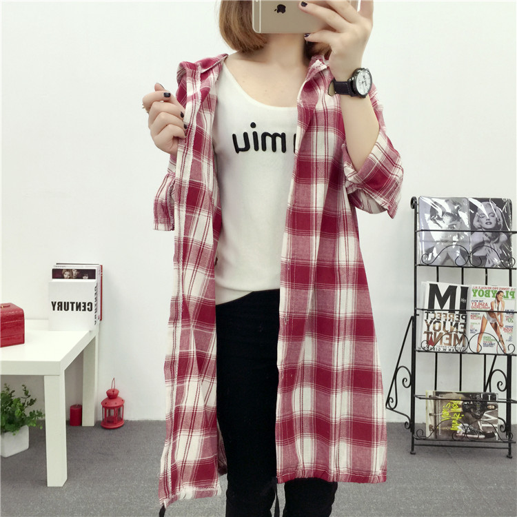 Brand Yan Qing Huan 2018 Spring Long Paragraph Large Size Plaid Shirt Fashion New Women's Casual Loose Long-sleeved Blouse Shirt 22