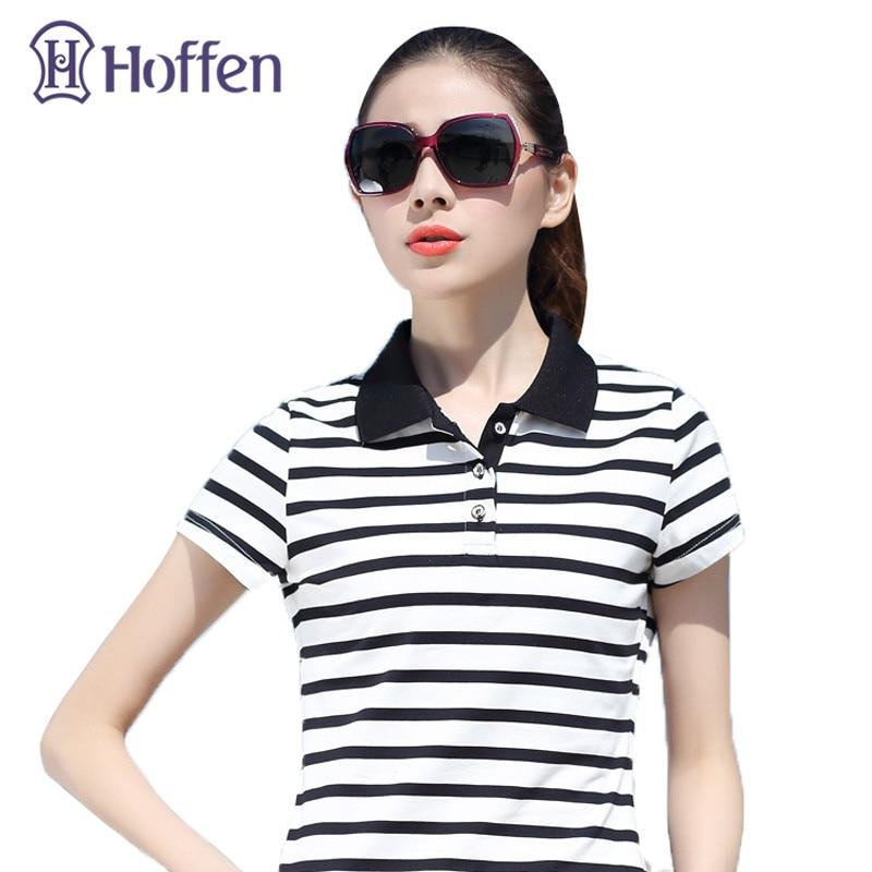 Hoffen Hot Sale 94% Bavlněné polokošile Ženy Turn Down Collar Short Sleeve Striped Polos Mujer Summer Tops Casual Camisa Polo