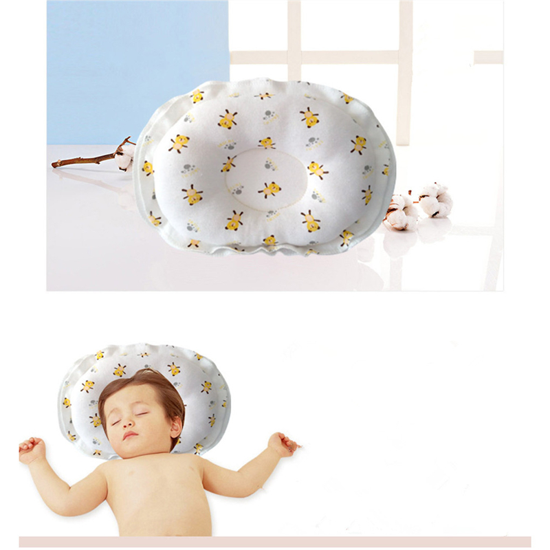 Baby Bear Shaping Pillow Anti-roll Pad Flat Headrest Colored Cotton Embroidery New Design Soft Washable Child Sleep Locator Beautiful And Charming Baby Bedding Pillow