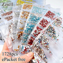 1728pcs Flatback Glass Nail Rhinestones Mix Size SS4-SS12 Colorful Art Decoration Stones Shiny Gems Manicure Accessories
