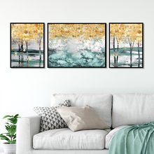 Hot sale Nordic style golden yellow green white tree Art Canvas Poster and Print Canvas Painting Decorative Wall Decor P0099(China)