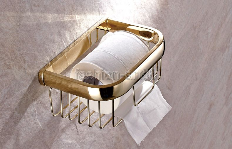 ФОТО Bathroom Accessories Polished Gold Color Brass Wall Mounted Toilet Paper Roll Holder Bathroom Shower Storage Basket aba532