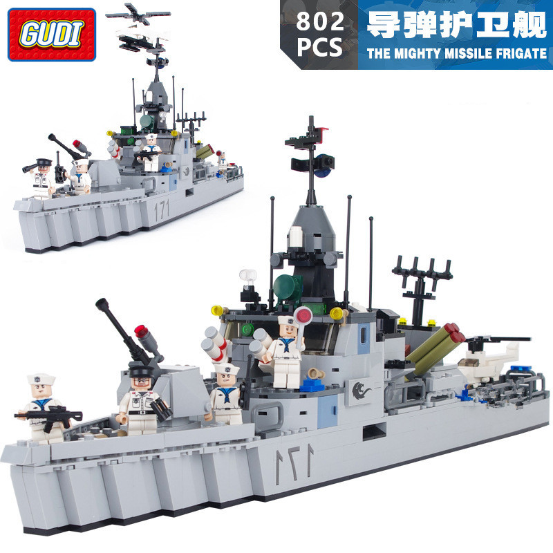 GUDI Military Building Blocks Army Battleship Boat Helicopter Toy Model The Mighty Missile Frigate Toys For Children soldiers set military toys model of helicopter tank soldiers the artillery missile toy for boy