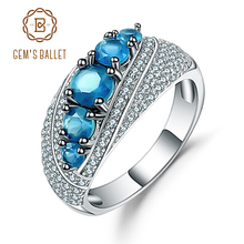 Gems Ballet Halo 1.56Ct Natural London Blue Topaz Mona Lisa Ring 925 Sterling Silver Gemstone Rings For Women Fine Jewelry