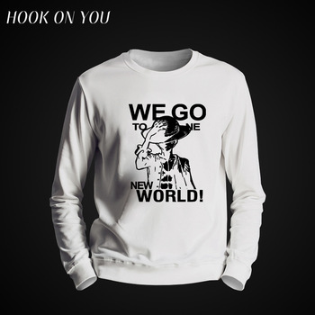 2017 Hot Anime One Piece Men O-Neck Hoodie Funny Clothing Luffy We Go To Bone New World Printed Sweatshirt Cool Casual Fleeces