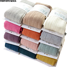 Warm Tights Winter Full Cotton Vertical Pattern Candy Colors Thermal Dress Pantyhose for Spring 2016