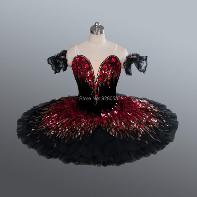 Cisne negro figurinos de balé cor preta saia Tutu adulto Tutu de balé profissional competição Ballet Dancewear BLY1164A