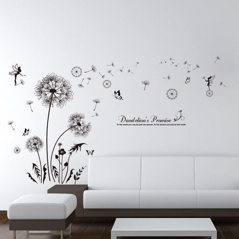 SHIJUEHEZI  Black Dandelion Wall Stickers Vinyl DIY Flower Mural Art for  Living Room Bedroom Decoration Adesivo De ParedeSHIJUEHEZI  Black Dandelion Wall Stickers Vinyl DIY Flower Mural  . Room Wall Art Stickers. Home Design Ideas