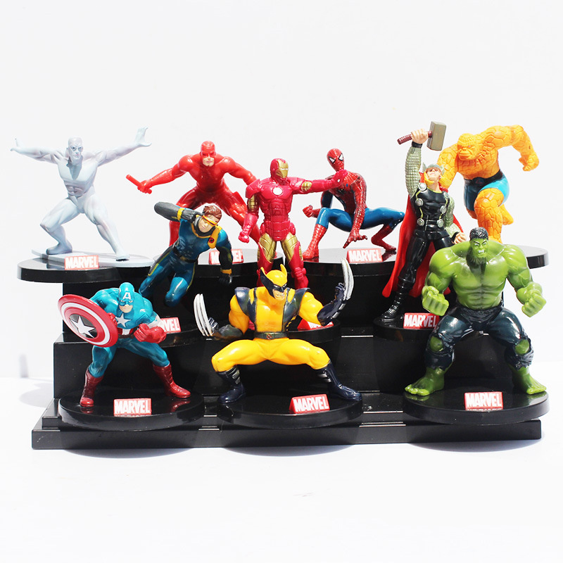 10pcs/set Avengers Superheros Iron Man Spiderman Wolverine Quicksilver Ben Grimm Hulk PVC Action Figure Toy