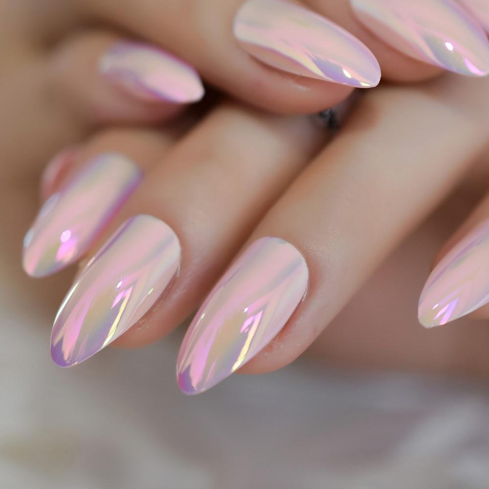 Mirror Medium Stiletto Nails Light Pink Chrome Nail Tips Holographic