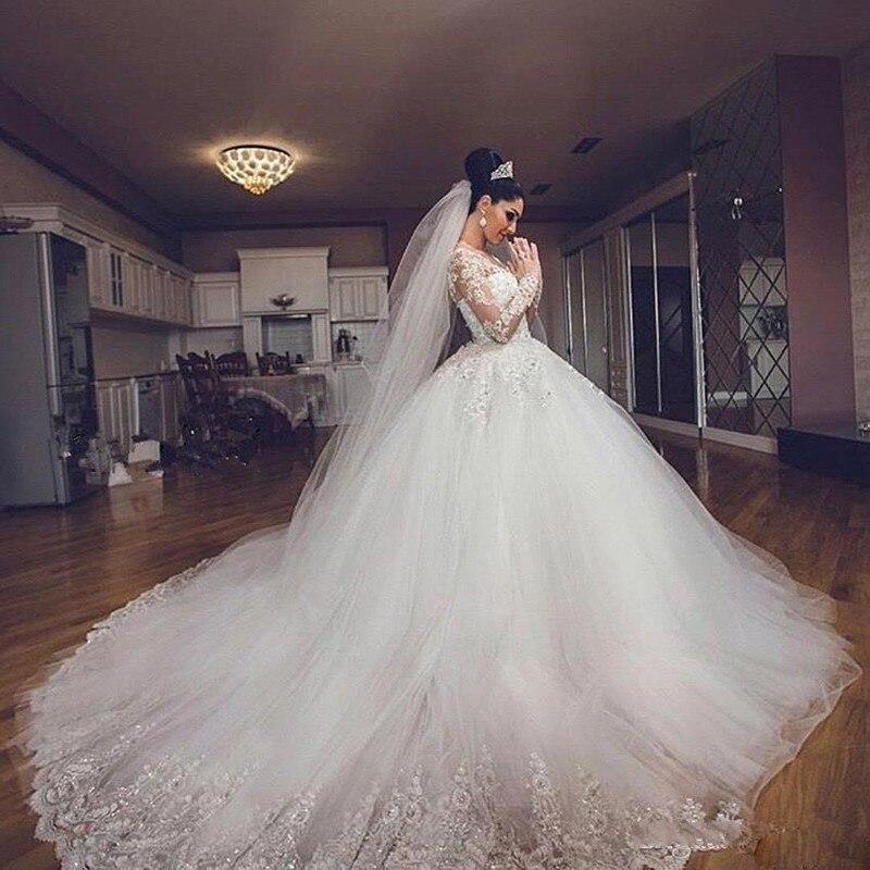 Élégant Mariee De Appliques Blanc Robes Noche Tulle Robe Pageant Manches Longues Hochzeitskleid XBxUgnwq