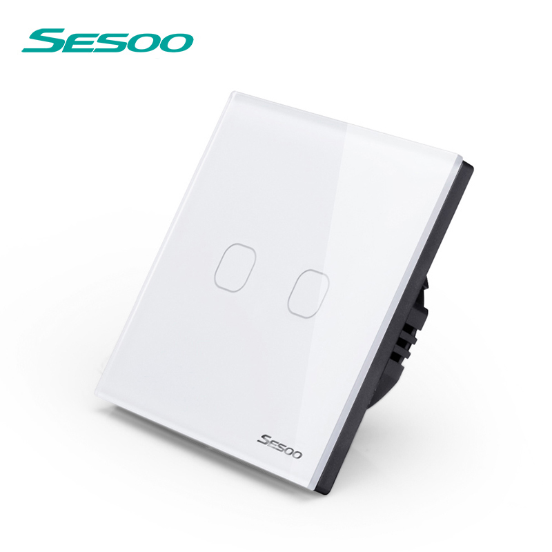 SESOO Remote Control Switches 2 Gang 1 Way,White,Crystal Glass Switch Panel,Remote Wall Touch Switch+LED Indicator eu uk standard sesoo remote control switch 3 gang 1 way crystal glass switch panel wall light touch switch led blue indicator
