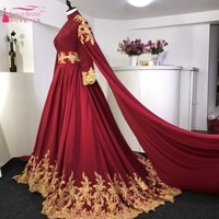 Long Sleeves Burgundy Red Gold Lace Court Train Arabic Wedding Dresses Muslim Wedding Bride Gown With