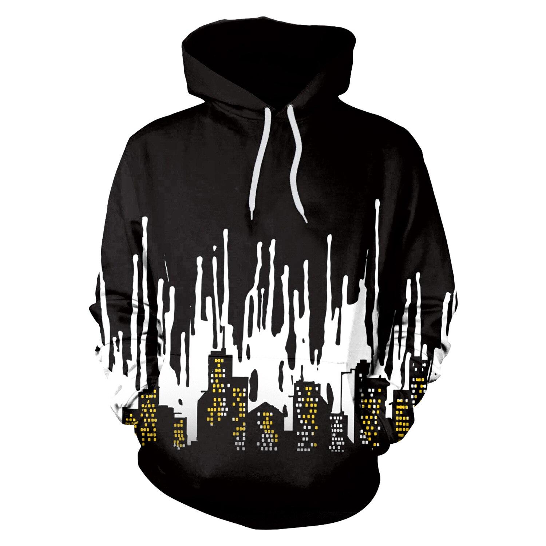 Men Hoodie Black White 3D Print Hoodies Men Loose Hooded Sweatshirt Streetwear Sudaderas Para Hombre