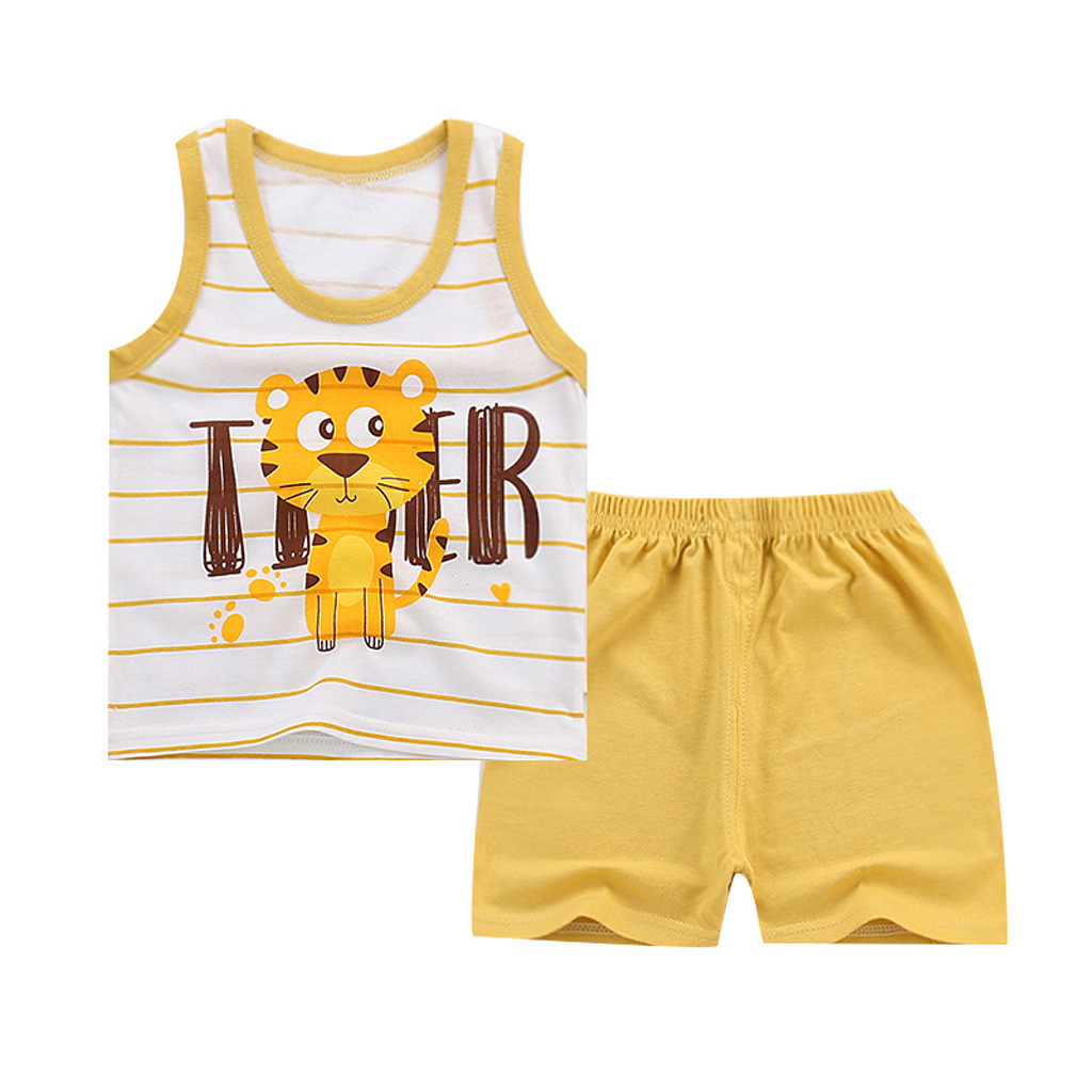 a6caa2ce85ed4 Kawai Baby Clothes Set Baby Boy Girl Kids Sleeveless Cartoon Tracksuit  Sport Suit Vest Pants ...