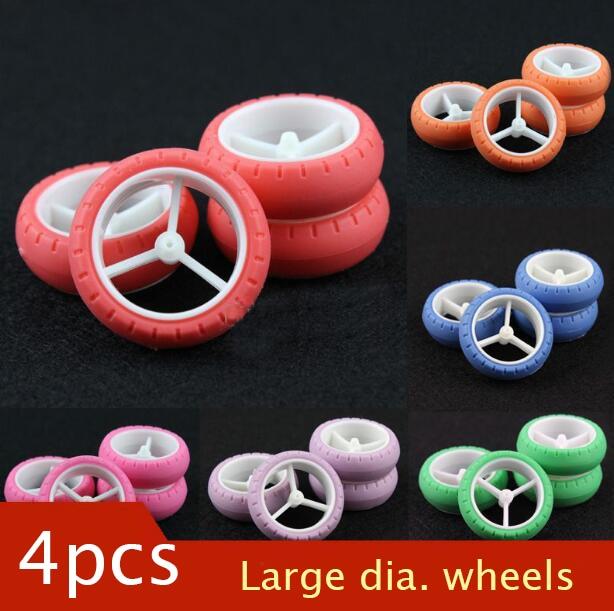 4Pcs Large Diameter Wheels Tire for Tamiya Mini 4WD Racing Car Model Arc Tires with 3 Spoke Wheel Hubs Diameter 30.5mm